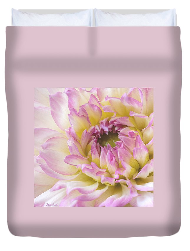 Petal Duvet Cover featuring the photograph Dahlia Delight Square by Heidi Smith