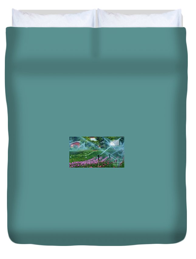 Dahlia Field Duvet Cover featuring the photograph Dahlia Field Farm Scene by Susan Garren