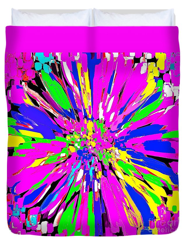 Dahlia Duvet Cover featuring the painting Dahlia Flower Abstract #1 by Saundra Myles