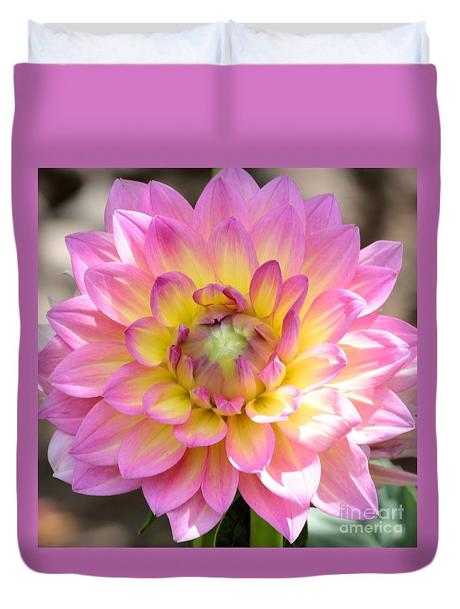 Dahlia Duvet Cover featuring the photograph Dahlia Speak To Me In Pink by Carol Groenen