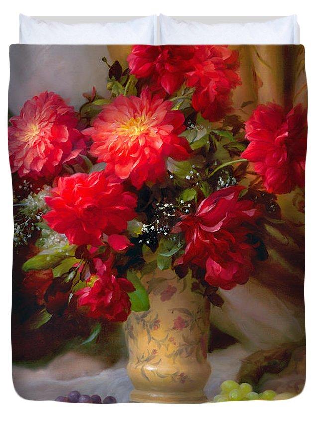 Dahlias Duvet Cover featuring the painting Dahlias by Sevrukov