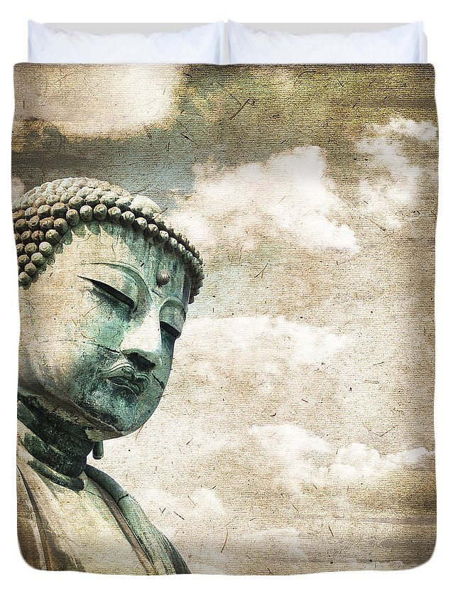 Buddha Duvet Cover featuring the photograph Daibutsu by Delphimages Photo Creations