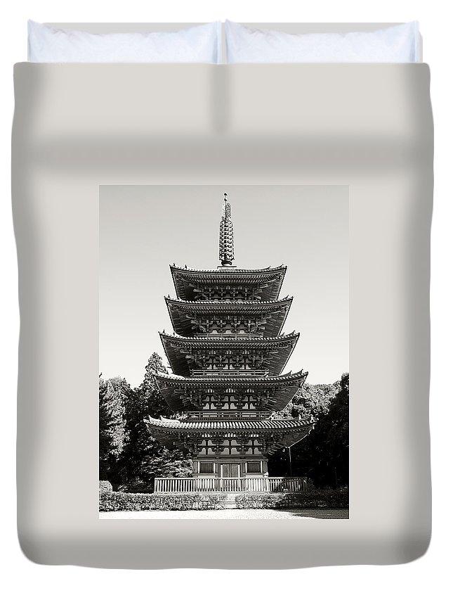 Daigoji Duvet Cover featuring the photograph Daigo-ji Pagoda - Japan National Treasure by Daniel Hagerman