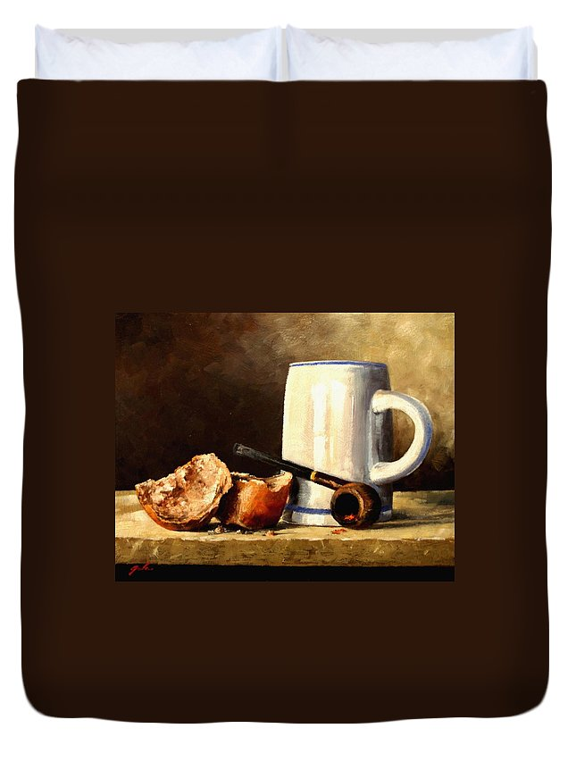 Still Life Duvet Cover featuring the painting Daily Bread #3 by Jim Gola