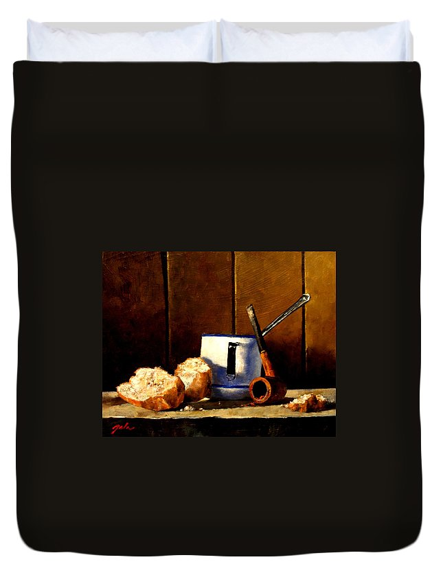 Still Life Duvet Cover featuring the painting Daily Bread Ver 1 by Jim Gola