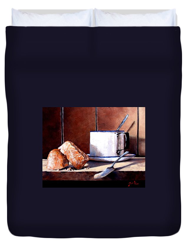 Still Life Duvet Cover featuring the painting Daily Bread Ver 2 by Jim Gola