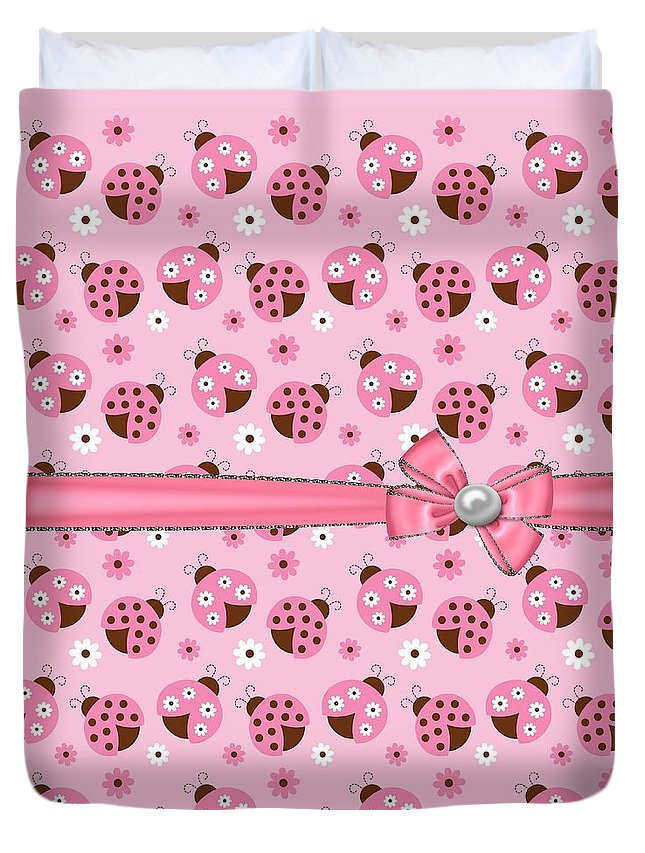 Ladybugs Duvet Cover featuring the digital art Dainty Little Ladybugs by Debra Miller