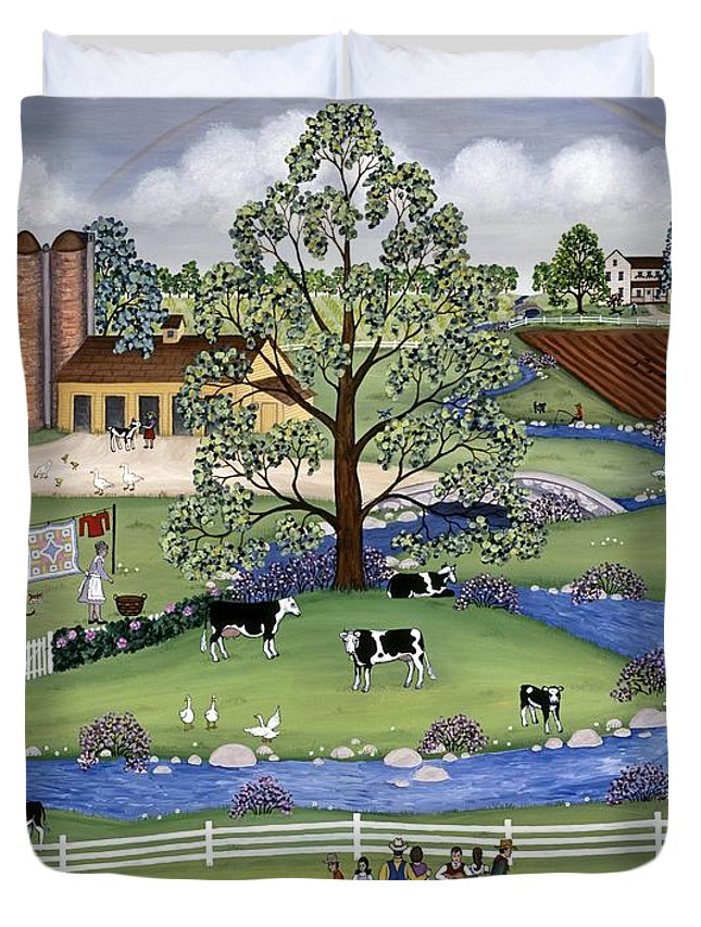 Folk Art Landscape Duvet Cover featuring the painting Dairy Farm by Linda Mears