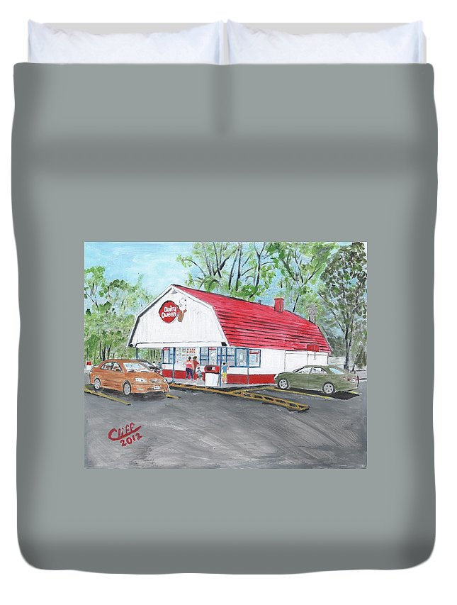 Building Duvet Cover featuring the painting Dairy Queen by Cliff Wilson