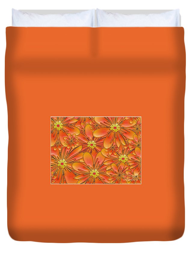 Isolated Duvet Cover featuring the digital art Daisies by Liane Wright