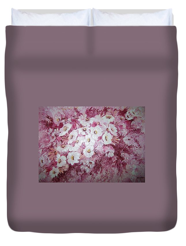 Duvet Cover featuring the painting Daisy Blush by Karin Dawn Kelshall- Best