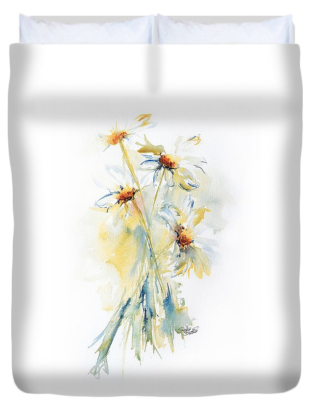 Stephie Duvet Cover featuring the painting Daisy Bouquet by Stephie Butler