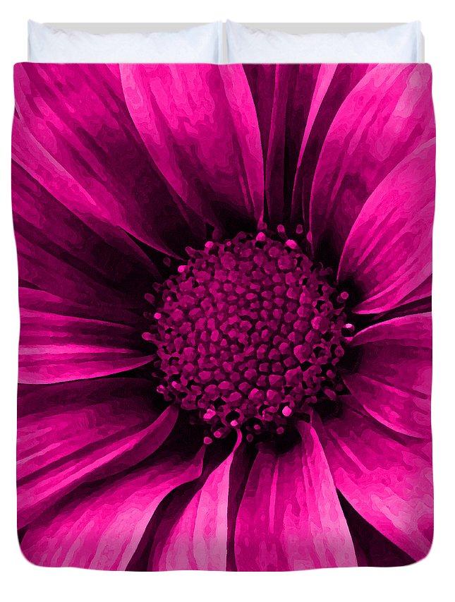 6f50093f84e2 Daisy Duvet Cover featuring the mixed media Daisy Daisy Neon Pink by  Angelina Vick