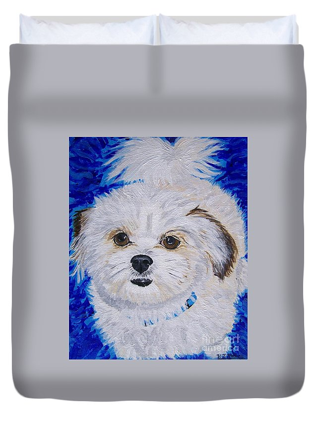 Dog Duvet Cover featuring the painting Daisy Doodle by Vicki Maheu