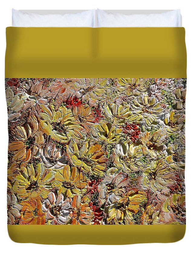 Daisies Duvet Cover featuring the painting Daisy Field by Karin Dawn Kelshall- Best