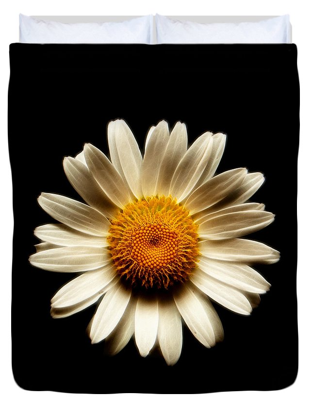 Daisies Are Not Flowers Duvet Cover featuring the photograph Daisy On Black Square Fractal by Weston Westmoreland