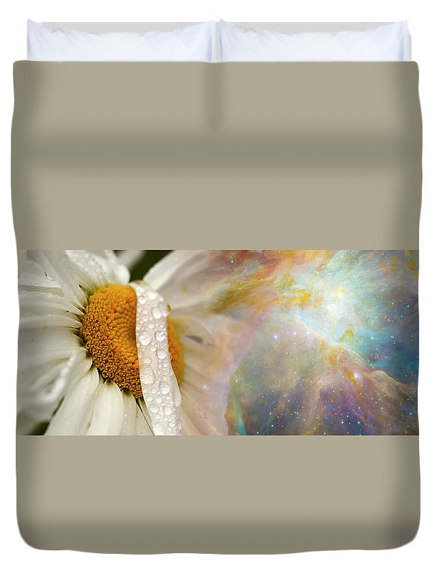 Photography Duvet Cover featuring the photograph Daisy With Hubble Cosmos by Panoramic Images