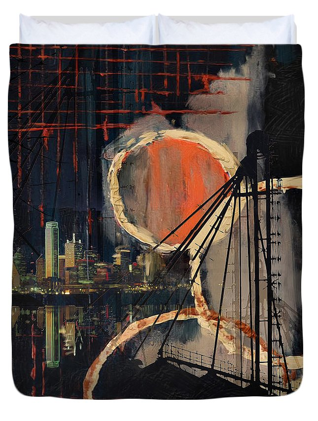 Dallas Duvet Cover featuring the painting Dallas Skyline 002 by Corporate Art Task Force