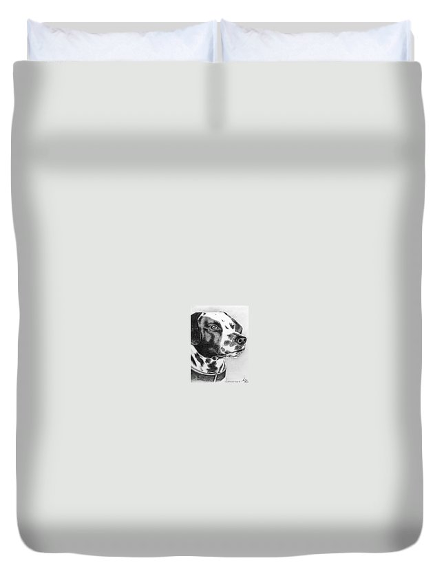 Dog Duvet Cover featuring the drawing Dalmatian Portrait by Nicole Zeug