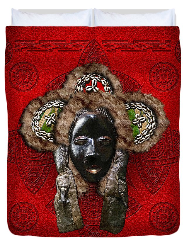 'treasures Of Africa' Collection By Serge Averbukh Duvet Cover featuring the digital art Dan Dean-gle Mask Of The Ivory Coast And Liberia On Red Leather by Serge Averbukh