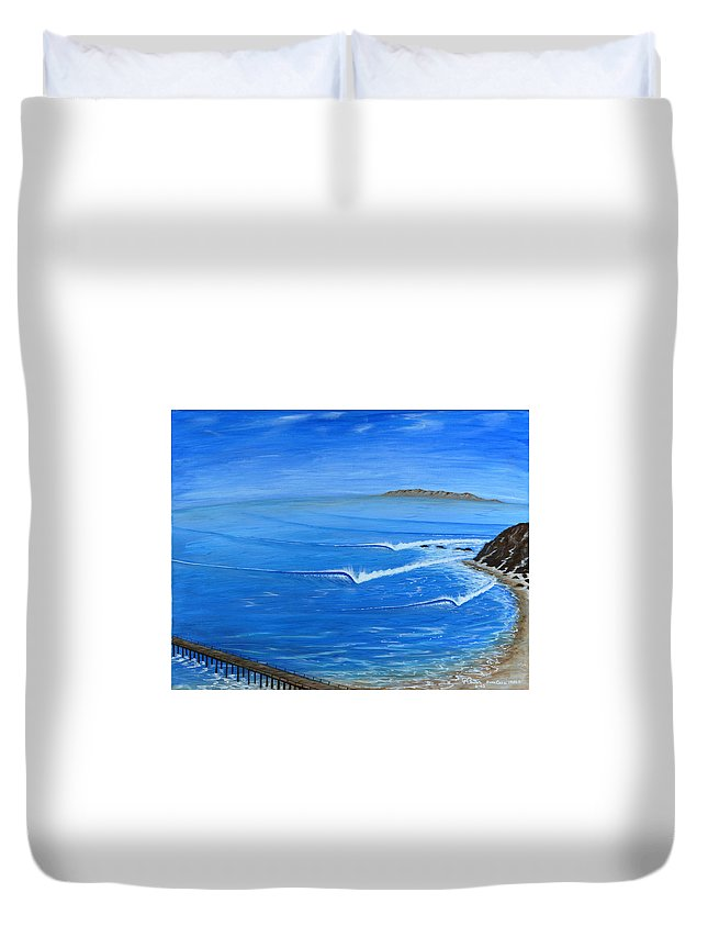 Danapoint Framed Prints Duvet Cover featuring the painting Dana Point-killer Dana by Paul Carter