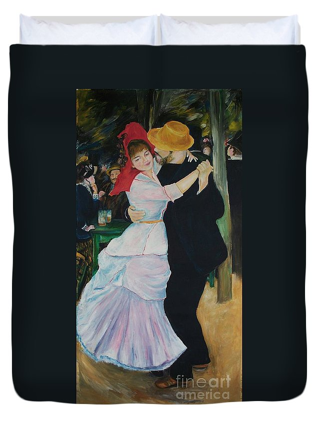 Impressionism Duvet Cover featuring the painting Dance At Bougival Renoir by Eric Schiabor