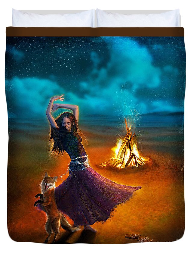 Girl Duvet Cover featuring the digital art Dance Dervish Fox by MGL Meiklejohn Graphics Licensing