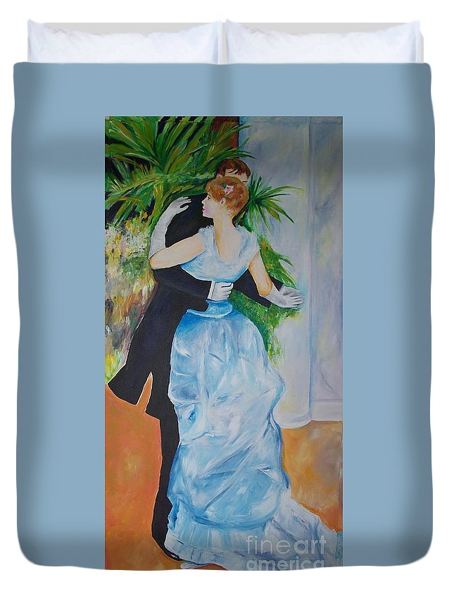 Lavender Duvet Cover featuring the painting Dance In The City by Eric Schiabor