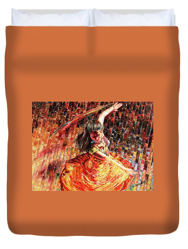 Dancer Duvet Cover featuring the painting Dance Of Colors by Sethu Madhavan