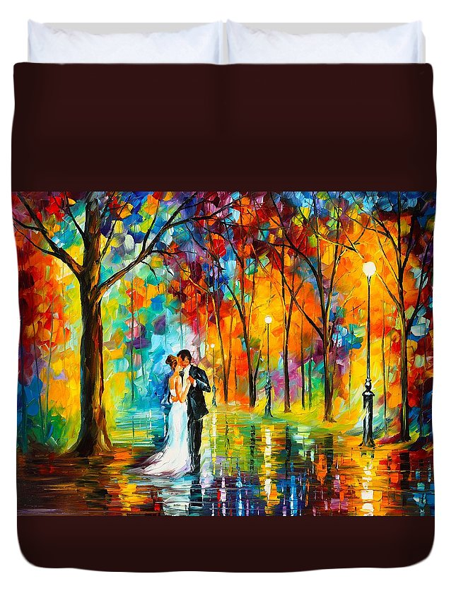 Afremov Painting Palette Knife Art Handmade Surreal Abstract Oil Landscape Original Realism Unique Special Life Color Beauty Admiring Light Reflection Piece Renown Authenticity Smooth Certificate Colorful Beauty Perspective Color Dance Love Duvet Cover featuring the painting Dance Of Love by Leonid Afremov