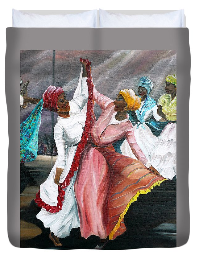 Dancers Folk Caribbean Women Painting Dance Painting Tropical Dance Painting Duvet Cover featuring the painting Dance The Pique 2 by Karin Dawn Kelshall- Best
