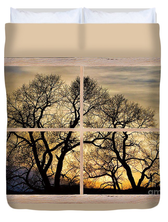 Trees Duvet Cover featuring the photograph Dancing Forest Trees Picture Window Frame Photo Art View by James BO Insogna