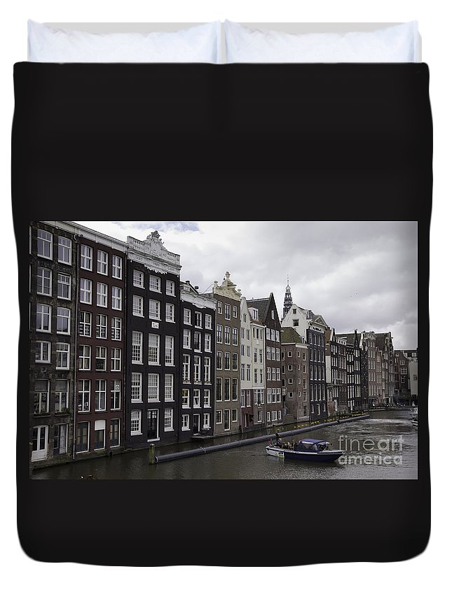 2014 Duvet Cover featuring the photograph Dancing Houses Damrak Canal Amsterdam by Teresa Mucha