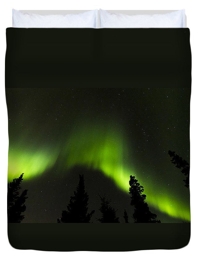 Alaska Duvet Cover featuring the photograph Dancing Lights by Kyle Lavey