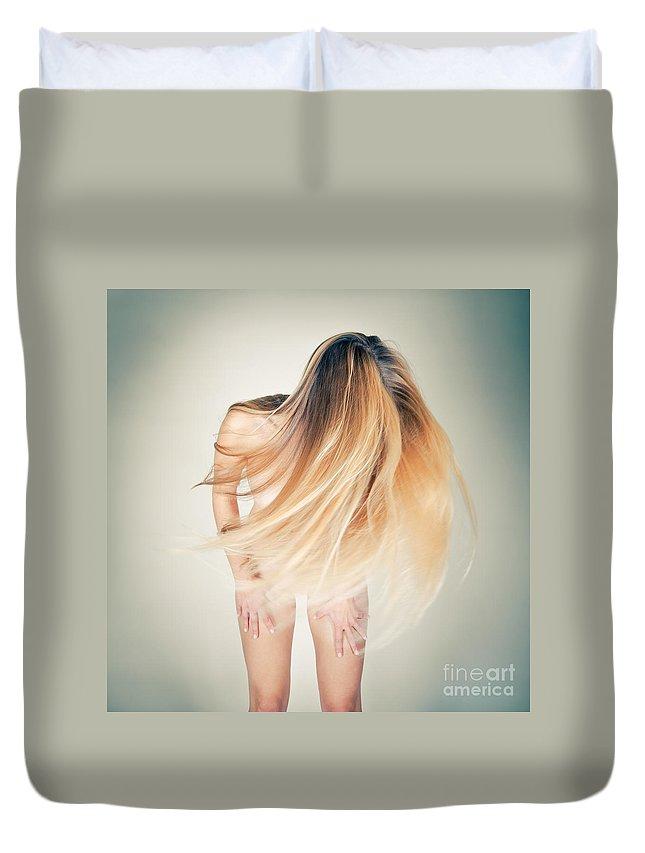 Woman Duvet Cover featuring the photograph Dancing Nude by Jochen Schoenfeld