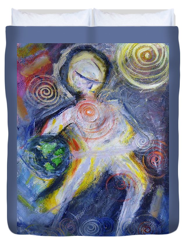 Spiritual/ Inspirational Duvet Cover featuring the painting Dancing Spirit Of Earth by Kurt Fondriest
