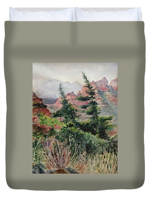 Mountains Duvet Cover featuring the painting Dancing Trees by Kathy Sievering