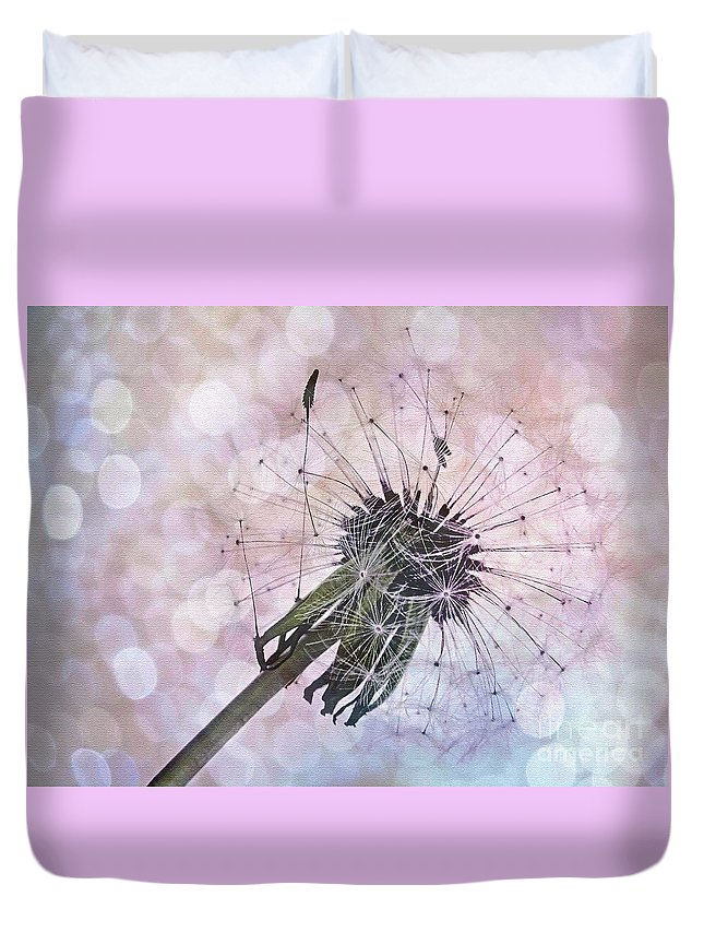Photography Duvet Cover featuring the photograph Dandelion Before Pretty Bokeh by Kaye Menner