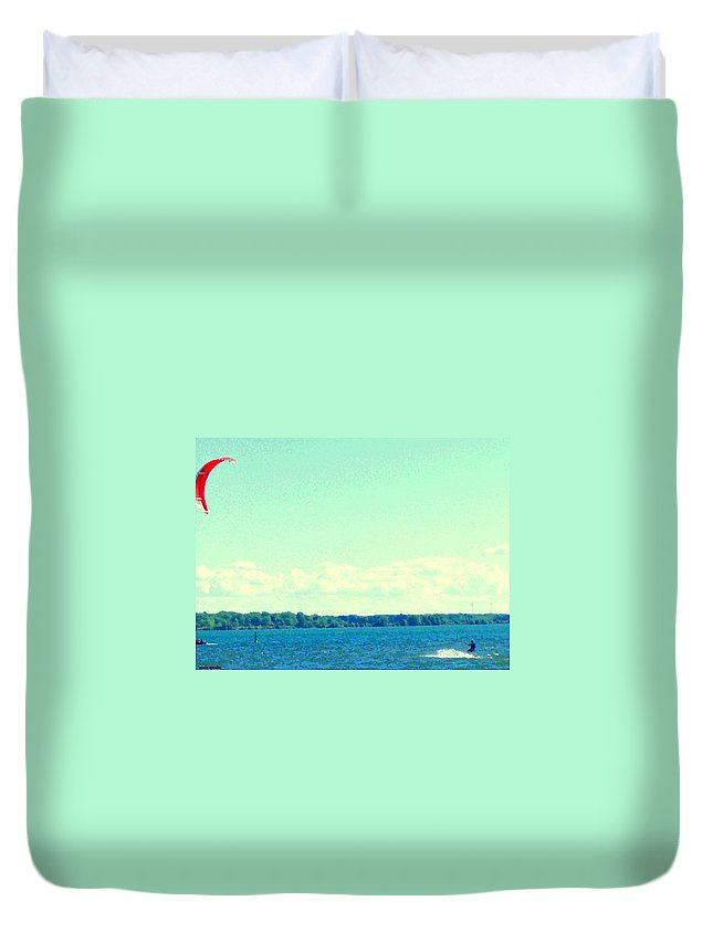 Montreal Duvet Cover featuring the painting Dangerous Moonlight Red Crescent Kite Boarding Where Canal Meets Ocean Seascape Scene Carole Spandau by Carole Spandau