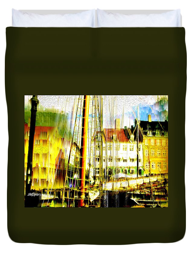 Cityscape Duvet Cover featuring the photograph Danish Harbor by Seth Weaver