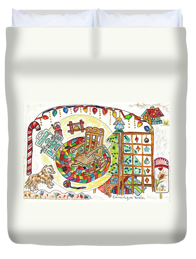 French Canadian Culture Duvet Cover featuring the painting Dans Nos Vieilles Maisons / In Our Old Houses by Dominique Fortier