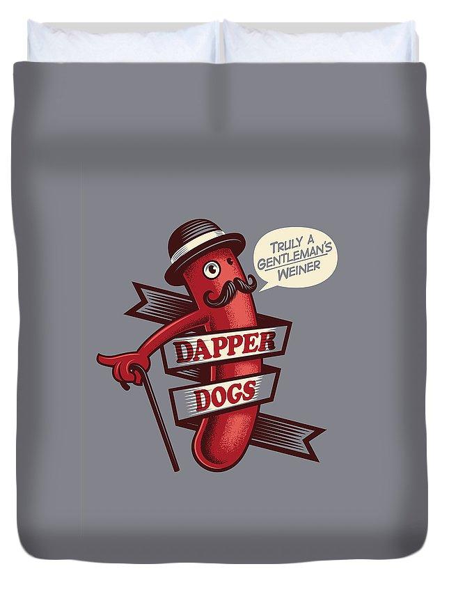Walking Cane Duvet Cover featuring the digital art Dapperdogs by Leonryan.com
