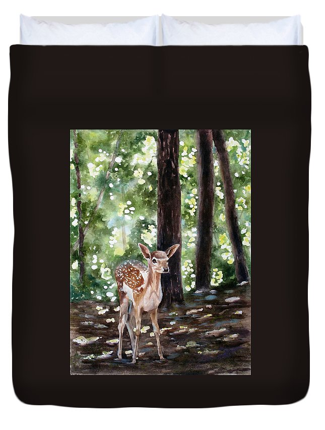 Fawn Duvet Cover featuring the painting Dappled Innocence by Mary McCullah
