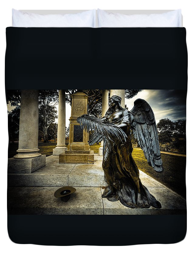 Angel Duvet Cover featuring the photograph Dark Angel by Wayne Sherriff