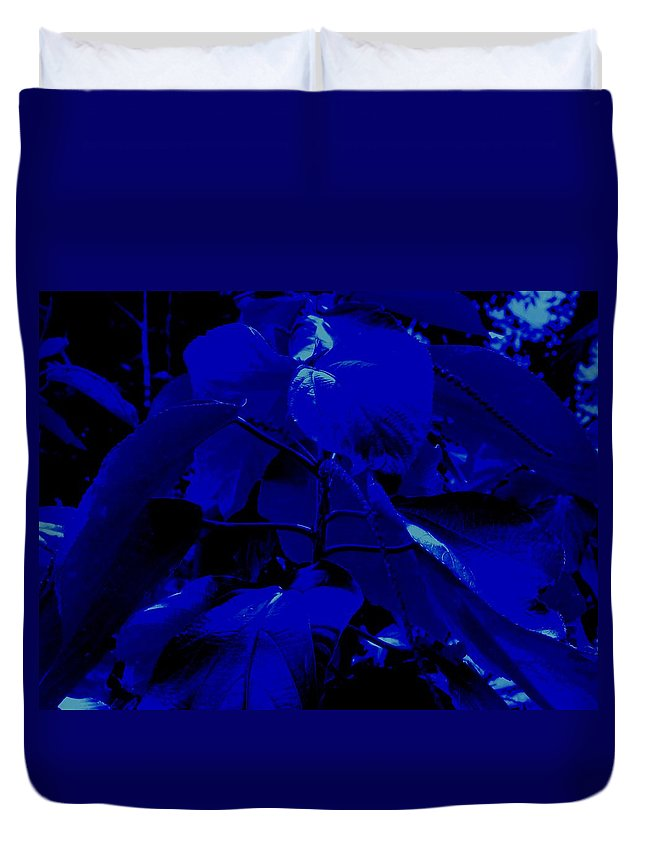Leaves Duvet Cover featuring the photograph Dark Blue Leaves by Ian MacDonald