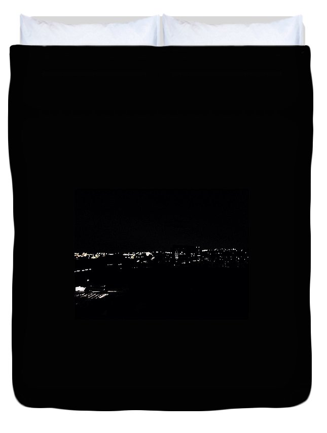 City Duvet Cover featuring the photograph Dark City by Sarah Jane Thompson