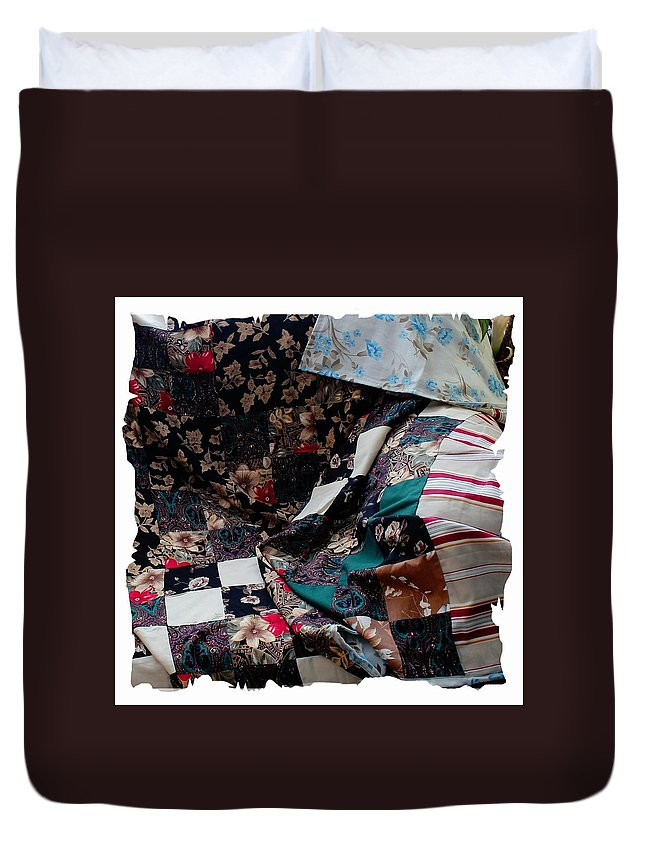 Dark Colored Blocks Patchwork Quilt Duvet Cover featuring the photograph Dark Colored Blocks Patchwork Quilt by Barbara Griffin