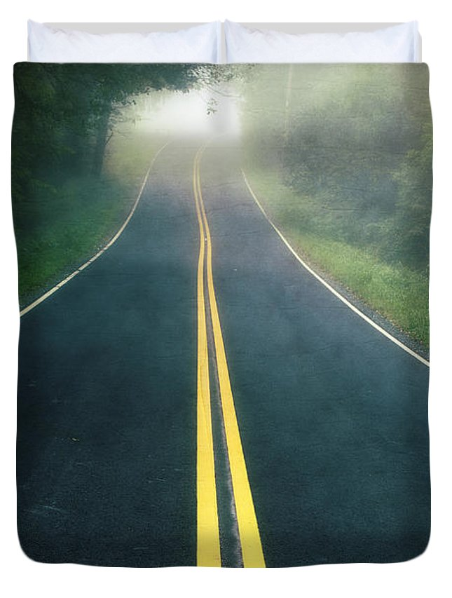 Foggy Duvet Cover featuring the photograph Dark Foggy Country Road by Edward Fielding