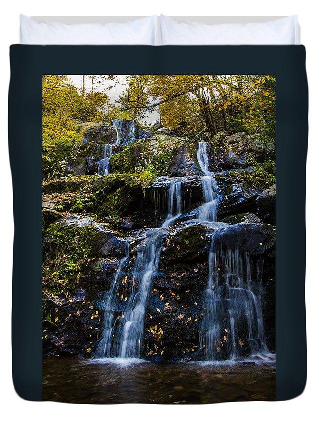 Dark Hollows Falls Duvet Cover featuring the photograph Dark Hollows Falls by Kaye Seaboch