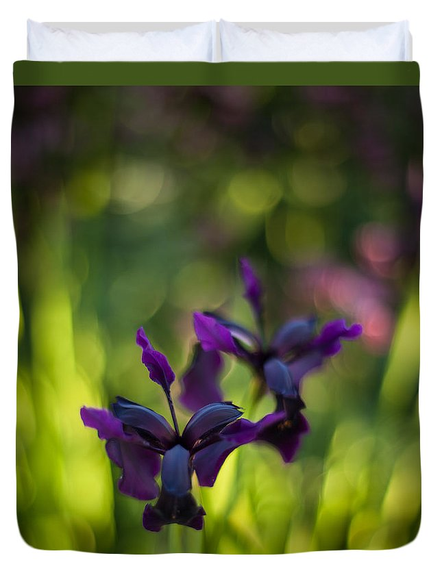 Flower Duvet Cover featuring the photograph Dark Irises by Mike Reid